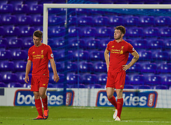 BIRKENHEAD, ENGLAND - Wednesday, September 28, 2016: Liverpool's Cameron Brannagan and Joe Maguire look dejected as Wolfsburg score an injury time winning goal to seal a 2-1 victory during the Premier League International Cup match at Prenton Park. (Pic by David Rawcliffe/Propaganda)