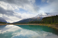 Mountain reflection in North Sasakatchewan River, Banff National Park Alberta
