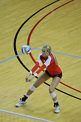 06 November 2010: Mallory Leggett concentrates on a dig during an NCAA volleyball match between the Purple Aces of the University of Evansville and the Illinois State Redbirds at Redbird Arena in Normal Illinois.