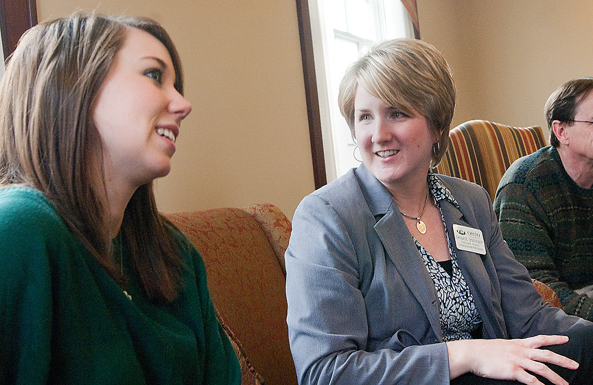 Junior Grace Cordle, left, talks with Associate Director of Admissions Candace Boeninger about her transition from a college in South Carolina to Ohio University on Friday, October 30, 2009.