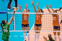 26-08-2017 NED: World Qualifications Bulgaria - Netherlands, Rotterdam<br /> De Nederlandse volleybalsters hebben in Rotterdam het kwalificatietoernooi voor het WK van volgend jaar in Japan ongeslagen afgesloten. Oranje was in z'n laatste wedstrijd met 3-0 te sterk voor Bulgarije: 25-21, 25-17, 25-23. / Elitsa Vasileva #16 of Bulgaria, Lonneke Sloetjes #10 of Netherlands, Robin de Kruijf #5 of Netherlands, Anne Buijs #11 of Netherlands