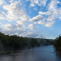 Morning mist rises from the East Branch of the Penobscot River near Matagamon Wilderness Camps and the International Appalachian Trail.