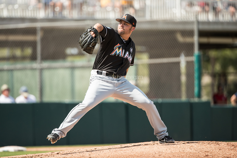 FORT MYERS, FL- FEBRUARY 27: Caleb Thielbar #56 of the Miami Marlins pitches against the Minnesota Twins on February 27, 2017 at the CenturyLink Sports Complex in Fort Myers, Florida. (Photo by Brace Hemmelgarn) *** Local Caption *** Caleb Thielbar