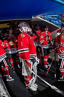KELOWNA, CANADA - MARCH 2: Shane Farkas #1 of the Portland Winterhawks stands in the tunnel prior to warm up against the Kelowna Rockets on March 2, 2019 at Prospera Place in Kelowna, British Columbia, Canada.  (Photo by Marissa Baecker/Shoot the Breeze)