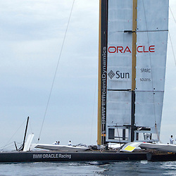 ALINGHI / BMW Oracle<br /> Day one, No wind: race cancelled<br /> 2010 America's Cup, Valencia<br /> <br /> ©2010 Kaufmann/Forster go4image.com