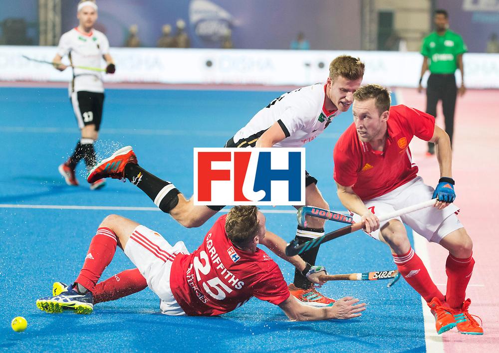 BHUBANESWAR - The Odisha Men's Hockey World League Final . Match ID 01 .Phil Roper (Eng)   and Barry Middleton (Eng) with with Ferdinand Weinke (Ger) WORLDSPORTPICS COPYRIGHT  KOEN SUYK