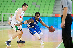 Erjon Kastrati of KK Petrol Olimpija Ljubljana and Davis Rashun of KK Rogaska during basketball match between KK Petrol Olimpija and KK Rogaska in 1st Semifinal match of Liga Nova KBM 2017/18, on May 9, 2018, in Arena Stozice, Ljubljana, Slovenia. Photo by Urban Urbanc / Sportida