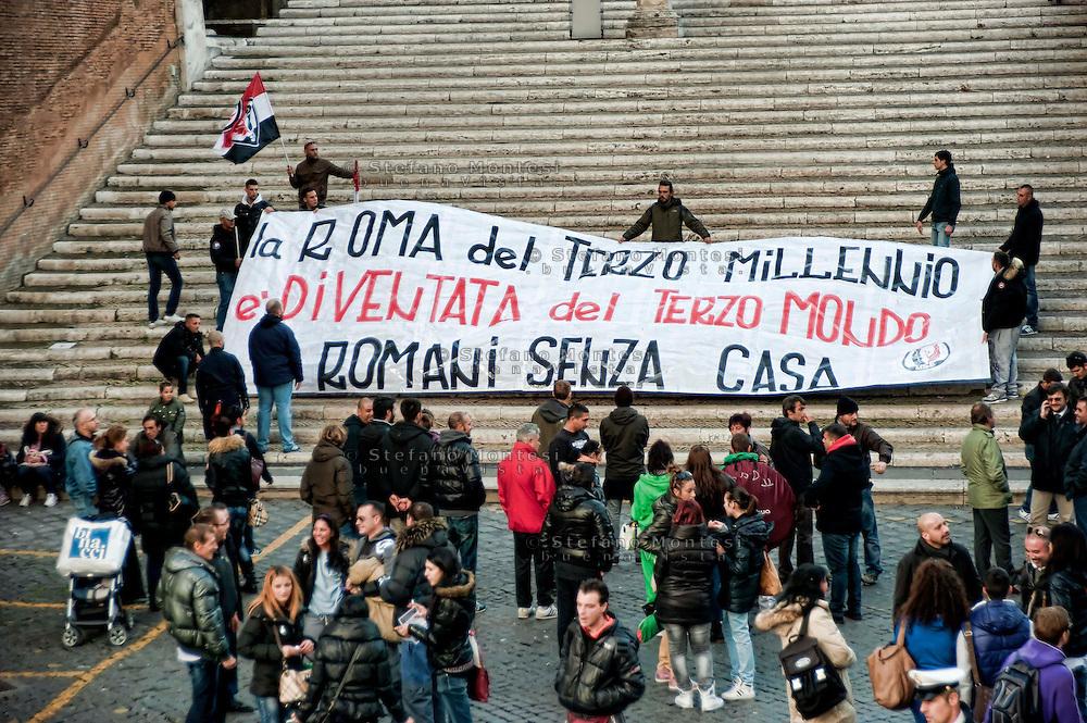 Roma, 26 Novembre 2012.Manifestazione del Movimento Sociale Europeo in Campidoglio per il diritto alla casa contro gli sfratti e per il mutuo sociale..