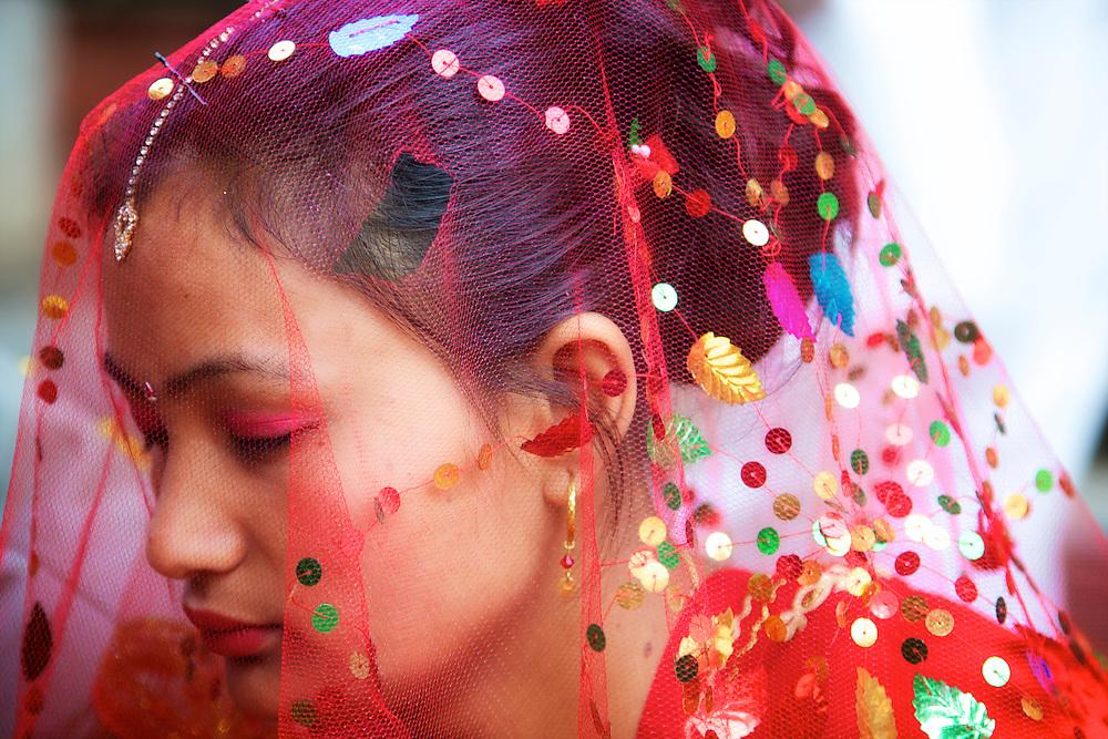 Hindu wedding in Patan Durbar Square, Lalitpur, Kathmandu valley, Nepal.