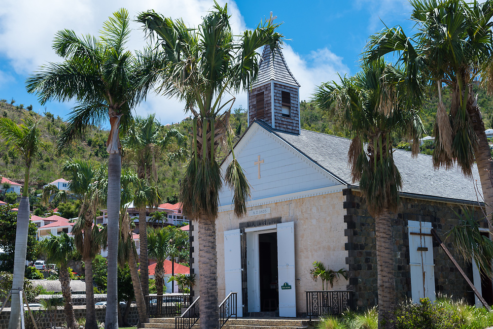 Gustavia, St Barths-- April 25, 2018. Side angle photo of St. Barth's Anglican Church, first constructed in 1855. Editorial Use Only.
