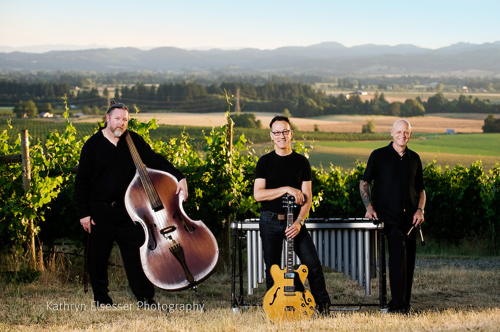 Jazz Musicians Frank Huston, Mathew Rotchford and Dennis Elmer, members of HERTrio in the Carlton Cellars Vineyard in Carlton, Oregon