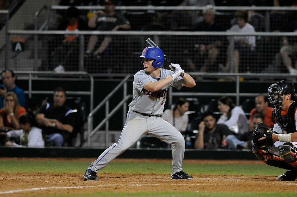 March 2, 2012: Casey Turgeon #2 of Florida in action during the game between the Miami Hurricanes and Florida Gators at Alex Rodriguez Park in Coral Gables, FL. The Gators defeated the Hurricanes 7-5.