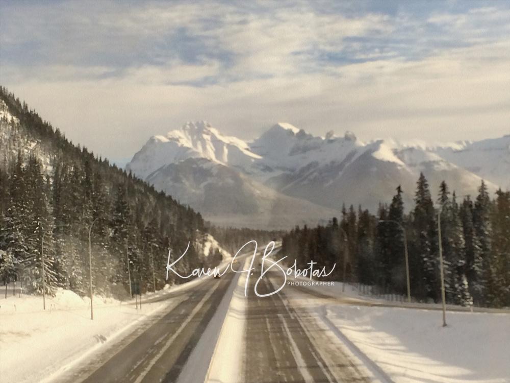 Banff ski trip.  Bus trip to Lake Louise through the frosty window.  -37C   ©2019 Karen Bobotas Photographer