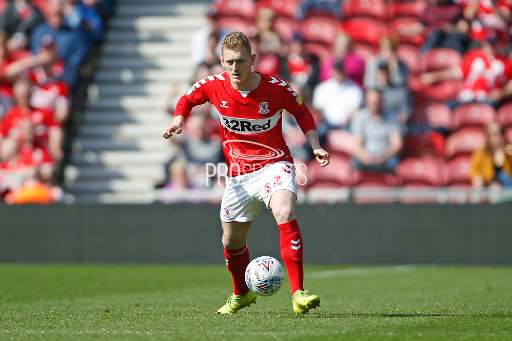 Middlesbrough midfielder George Saville (22)  during the EFL Sky Bet Championship match between Middlesbrough and Stoke City at the Riverside Stadium, Middlesbrough, England on 19 April 2019.