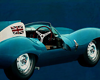 Jaguar Type D 1956 <br /> Like its predecessor Jaguar C-Type, the Jaguar D-Type is a factory-built racing car. The Jaguar D-Type had a straight-XK engine design. At the beginning it was a 3.4 engine, later also a 3.8, together with the C-Type a revolutionary car in terms of aerodynamics and monocoque chassis. The D-Type was produced purely for motorsport, but after Jaguar stopped building the car for motorsport, the company offered the unfinished chassis as the public-road version of the JaguarXKSS. These cars were given a number of modifications such as a passenger seat, a second door, a full windscreen and a roof. But on 12 February 1957 a fire broke out on Browns Lane plant. The fire destroyed nine of 25 cars that were already finished or almost finished. – -<br /> <br /> BUY THIS PRINT AT<br /> <br /> FINE ART AMERICA<br /> ENGLISH<br /> https://janke.pixels.com/featured/3-jaguar-type-d-1956-jan-keteleer.html<br /> <br /> WADM / OH MY PRINTS<br /> DUTCH / FRENCH / GERMAN<br /> https://www.werkaandemuur.nl/nl/shopwerk/Jaguar-Type-D-1956-blauw/571936/132