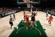 December 31, 2017: Erin Mathias #35 of Duke jumps over Erykah Davenport #30 of Miami during the NCAA basketball game between the Miami Hurricanes and the Duke Blue Devils in Coral Gables, Florida. The 'Canes defeated the Blue Devils 51-48.