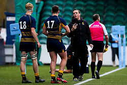 Worcester Warriors Academy Manager Mike Hall speaks to Charlie Hagen and Adam Lane of Worcester Warriors U18 - Mandatory by-line: Robbie Stephenson/JMP - 28/12/2019 - RUGBY - Sixways Stadium - Worcester, England - Worcester Warriors U18 v Wasps U18 - Premiership U18 Academy