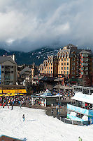 Sun brightens Whistler Village on Day Three of the 2010 Olympic Winter Games in Whistler, BC Canada.
