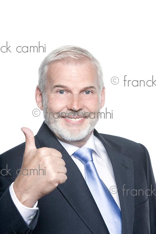 caucasian senior businessman portrait thumb up isolated studio on white background