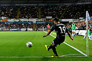 Pablo Hernandez (19) of Leeds United taking a corner during the EFL Sky Bet Championship match between Swansea City and Leeds United at the Liberty Stadium, Swansea, Wales on 21 August 2018.