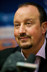 LIVERPOOL, ENGLAND - Tuesday, September 15, 2009: Liverpool's manager Rafael Benitez during a press conference at Anfield ahead of the UEFA Champions League Group E match against Debreceni VSC. (Photo by David Rawcliffe/Propaganda)