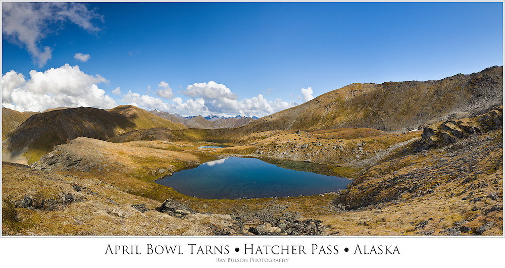 Composite panorama of three tarns at April Bowl in Summit Lake State Recreation Site at Hatcher Pass in Southcentral Alaska. Summer. Afternoon.