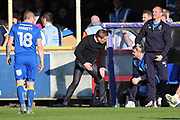 AFC Wimbledon manager Neal Ardley talking to the bench during the EFL Sky Bet League 1 match between AFC Wimbledon and Southend United at the Cherry Red Records Stadium, Kingston, England on 25 March 2017. Photo by Matthew Redman.
