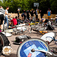 London, UK - 24 August 2012: Bikes at the Hell's Belles Vol 2, Ladies Bike Polo Tournament in Bethnal Green Gardens.