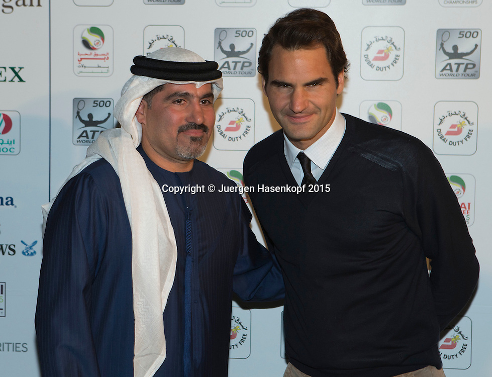 Players Party, Roger Federer und Turnierdirektor Salah Talak<br /> <br /> Tennis - Dubai Duty Free Tennis Championships - ATP -   - Dubai -  - United Arab Emirates  - 24 February 2015. <br /> &copy; Juergen Hasenkopf