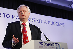 © Licensed to London News Pictures. 26/04/2017. London, UK. Secretary of State for Exiting the European Union DAVID DAVIS speaks at Prosperity UK conference at County Hall in Westminster, London on Wednesday 26 April 2017. Photo credit: Tolga Akmen/LNP
