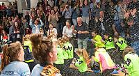 HAMBURG  (Ger) - Match 20,  for FINAL, LMHC Laren - Dinamo Elektrostal (Rus) (3-1).  Photo: European Champion , LMHC Laren.  Bieke Wijnmaalen (Laren), Maxime Kerstholt (Laren) , Pam van Asperen (Laren)   Eurohockey Indoor Club Cup 2019 Women . WORLDSPORTPICS COPYRIGHT  KOEN SUYK