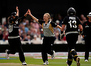 Sian Ruck celebrates having Poonam Raut caught during the ICC Women's World Twenty20 Cup semi-final between New Zealand and India at Trent Bridge. Photo © Graham Morris (Tel: +44(0)20 8969 4192 Email: sales@cricketpix.com)