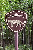 Roadside sign warning  Leopards are found in the area, Huai Kha Khaeng Wildlife Sanctuary, Thailand