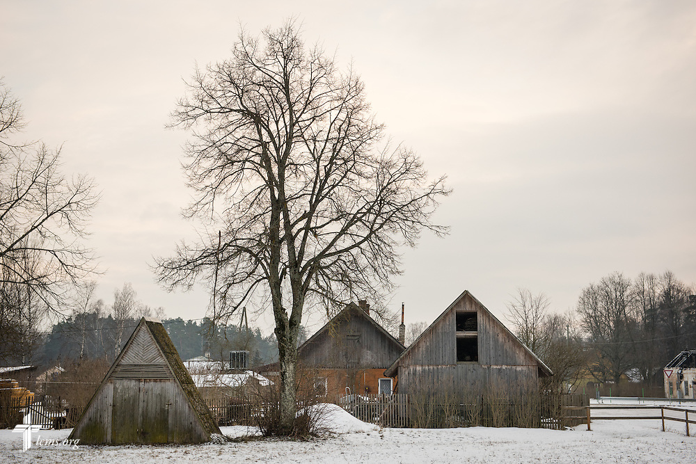 Homes line a street on Wednesday, Feb. 4, 2015, in rural Skulte, Latvia. LCMS Communications/Erik M. Lunsford