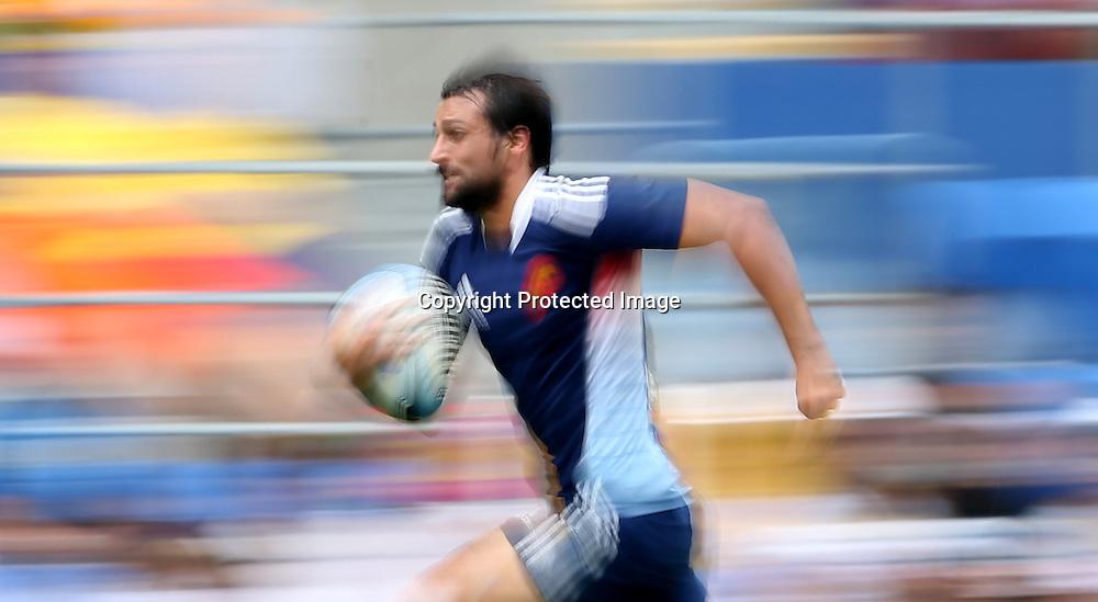 HSBC Sevens World Series - Gold Coast 2013  - Skilled Park , Gold Coast 12/10/13<br />  France's Paul Albaledejo in acion v South Africa<br /> Photograph : Jason O'Brien / Photosport