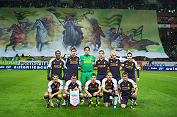 MOSCOW, RUSSIA - Thursday, November 8, 2012: Liverpool's players line up for a team group photograph before the UEFA Europa League Group A match against FC Anji Makhachkala at the Lokomotiv Stadium. Back row L-R: Andre Wisdom, Sebastian Coates, goalkeeper Brad Jones, Jordan Henderson, Jonjo Shelvey, Stewart Downing. Front row L-R: Conor Coady, Jamie Carragher, Jon Flanagan, Joe Cole, Adam Morgan. (Pic by David Rawcliffe/Propaganda)