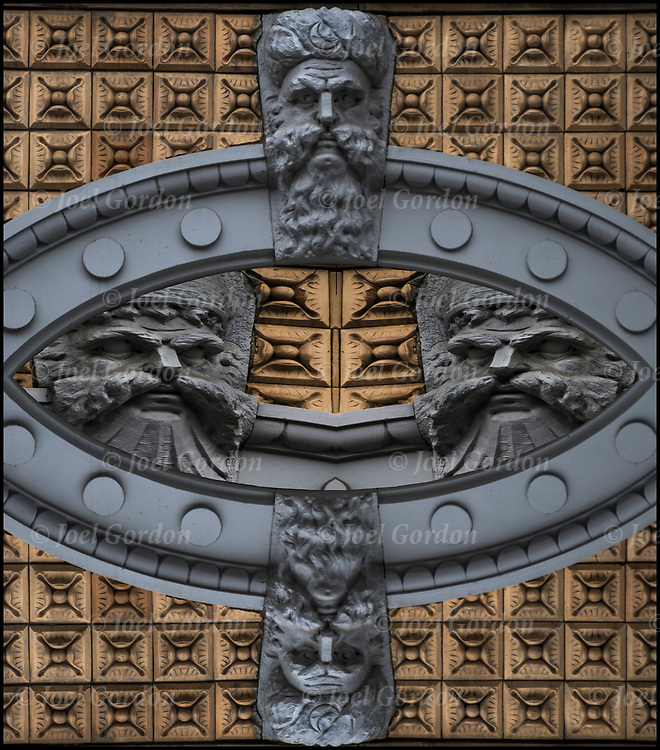 Stonework on side of 19th century building of carved face  in the East Village, NYC.<br /> <br /> Around the turn of the century owners could be immortalized in stone on their own buildings.    with their proud face adorning the entrance way.