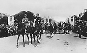 World War I 1914-1918: Postcard showing mounted soldiers led by Field Marshals parading through crowds during  the French victory parade through Paris, 14 July 1919. France