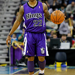 February 6, 2012; New Orleans, LA, USA; Sacramento Kings point guard Isaiah Thomas (22) against the New Orleans Hornets during the second half of a game at the New Orleans Arena. The Kings defeated the Hornets 100-92.  Mandatory Credit: Derick E. Hingle-US PRESSWIRE