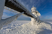 St. Joseph Lighthouse encrusted in ice during the winter of 2014 polar vortex.