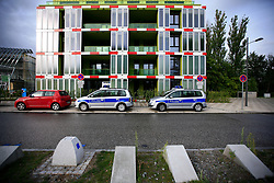 GERMANY HAMBURG 1SEP13 - Police cars in front of a building at the IBA architecture and building exhibition site in Wilhelmsburg, Hamburg.<br /> <br /> With HafenCity and the International Building Exhibition IBA, Hamburg is home to two of the most important urban development areas in Europe.<br /> <br /> <br /> <br /> jre/Photo by Jiri Rezac<br /> <br /> <br /> <br /> &copy; Jiri Rezac 2013