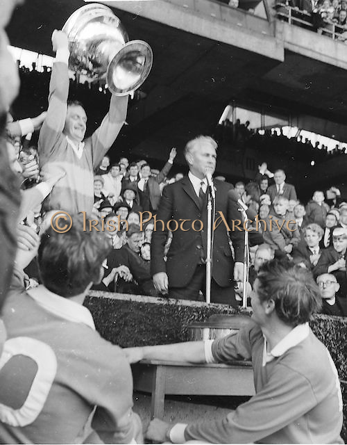 Kerry captain J Culloty raises the Sam Maguire after the All Ireland Senior Gaelic Football Final Kerry v Offaly in Croke Park on 28th September 1969. Kerry 0-10 Offaly 0-7.