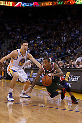 Mar 16, 2012; Oakland, CA, USA; Milwaukee Bucks point guard Monta Ellis (11) is defended by Golden State Warriors guard Klay Thompson (11) during the first quarter at Oracle Arena. Mandatory Credit: Jason O. Watson-US PRESSWIRE