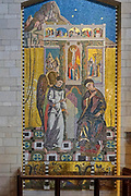 Religious artwork. Mosaic of the Madonna and Child at the Basilica of the Annunciation, Israel, Nazareth