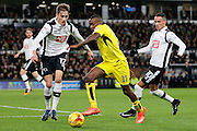 Burton Albion midfielder Lloyd Dyer (11), Derby County midfielder Tom Ince (10) and Derby County midfielder Julien de Sart (17)  during the EFL Sky Bet Championship match between Derby County and Burton Albion at the Pride Park, Derby, England on 21 February 2017. Photo by Richard Holmes.