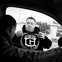 Abner was spotted by a friend while heading to the Hawaiian Gardens Community Center. The friend shows off a new sweatshirt that speaks to the neighborhood's toughness.