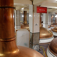 USA, Colorado, Golden. Brew kettles at Coors Brewery.
