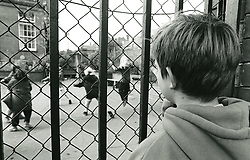 Primary school exclusion, Nottingham UK 1990s. Posed by model