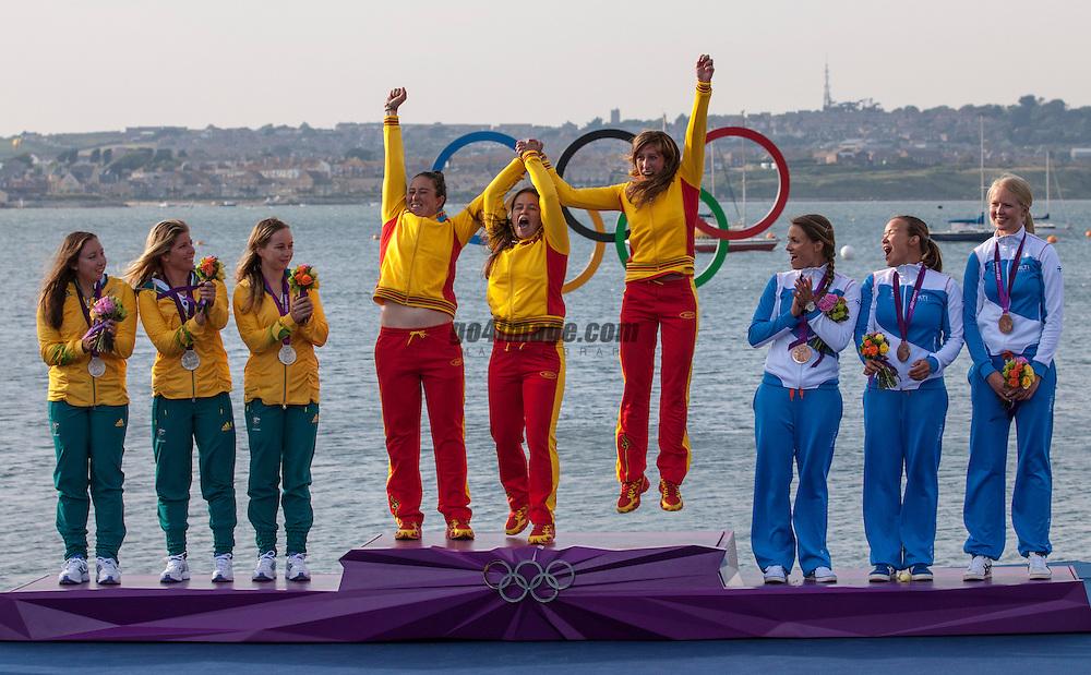 SILVER:<br /> Curtis Nina, Whitty Lucinda, Price Olivia, (AUS, Match Race)<br /> BRONZE:<br /> Kanerva Silja, Wulff Mikaela, Lehtinen Silja, (FIN, Match Race)<br /> GOLD:<br /> Echegoyen Tamara, Toro Sofia, Pumariega Angela, (ESP, Match Race)<br /> <br /> 2012 Olympic Games <br /> London / Weymouth