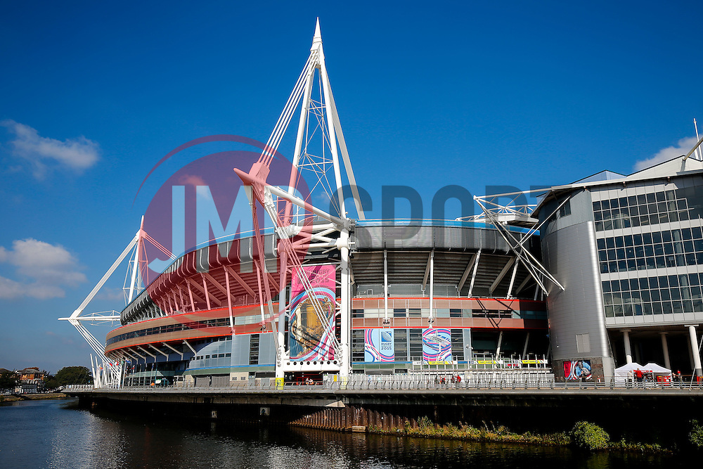 General View outside the Millennium Stadium with World Cup branding - Mandatory byline: Rogan Thomson/JMP - 07966 386802 - 01/10/2015 - RUGBY UNION - Millennium Stadium - Cardiff, Wales - Wales v Fiji - Rugby World Cup 2015 Pool A.